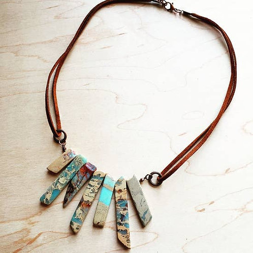 The Jewelry Junkie - Aqua Terra Leather Cord Necklace