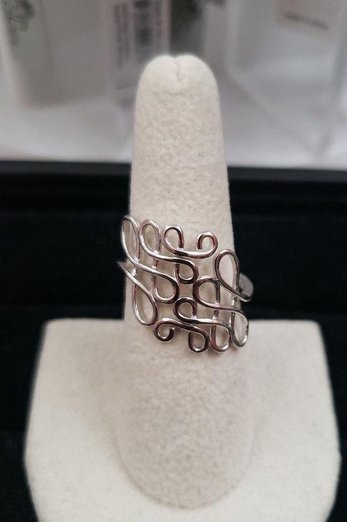 Sterling Silver Flourish Ring sz 9