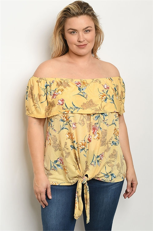 Lily Sky - Short sleeve off the shoulder ruffled tunic top