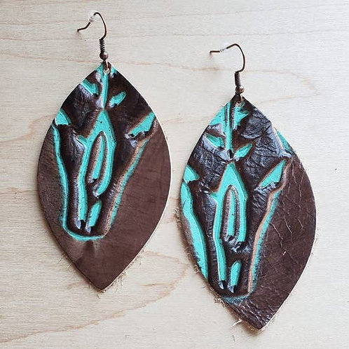 The Jewelry Junkie - Leather Oval Earrings in Embossed Steer Head