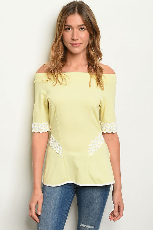 Palazzo - Short sleeve off-shoulder lace trim detail top.