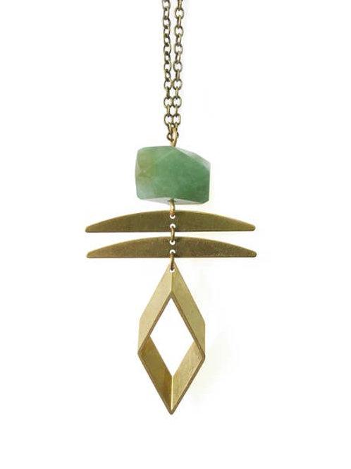 Black Crystals - Aventurine Rhombus Gemstone Necklace