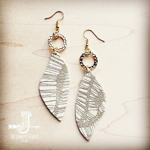 The Jewelry Junkie - Leather Accent Earrings in Gold and White Leaf