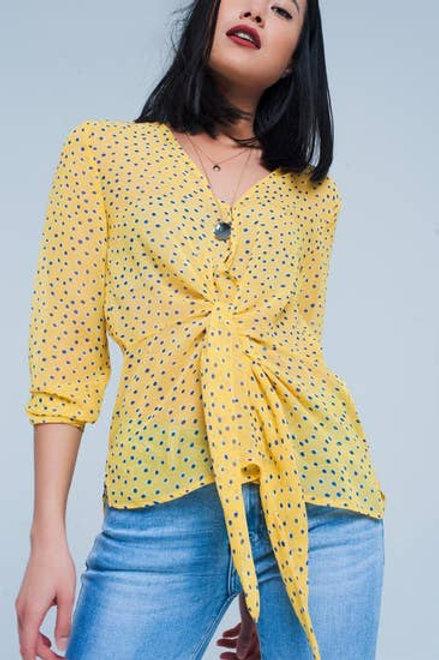 Q2 - Yellow Blouse in polka dot with tie waist detai
