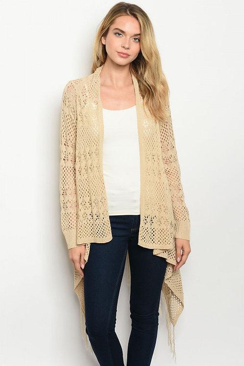 Verte - Long sleeve open front lightweight knitted sweater