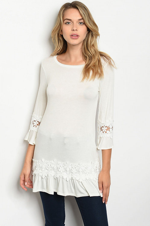 Love Story - 3/4 sleeve scoop neck jersey tunic top