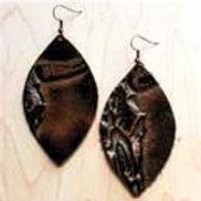 The Jewelry Junkie - Bronze Steer Head Leather Oval Earrings