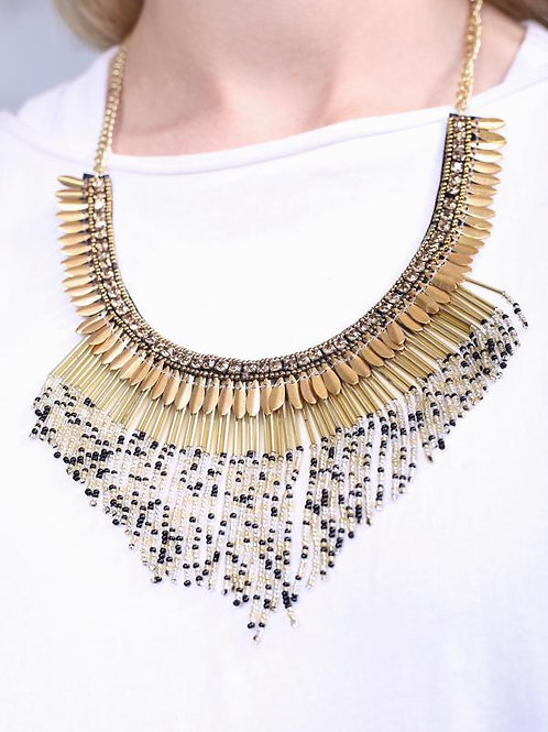 Sanderson embellished statement necklace with seed bead fringe gold-black