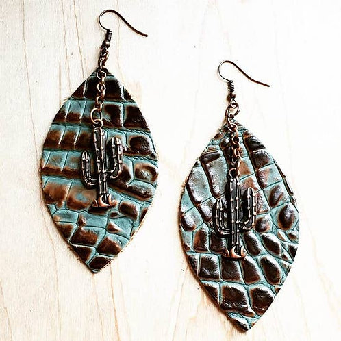 The Jewelry Junkie - Leather Oval Earrings in Turquoise Gator with Copp