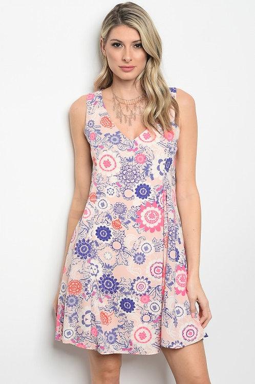 Pink Owl -Lightweight Sleeveless V-neck Multi Print Chiffon Dress