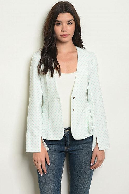 Alythea - Long sleeve open front polka dot blazer