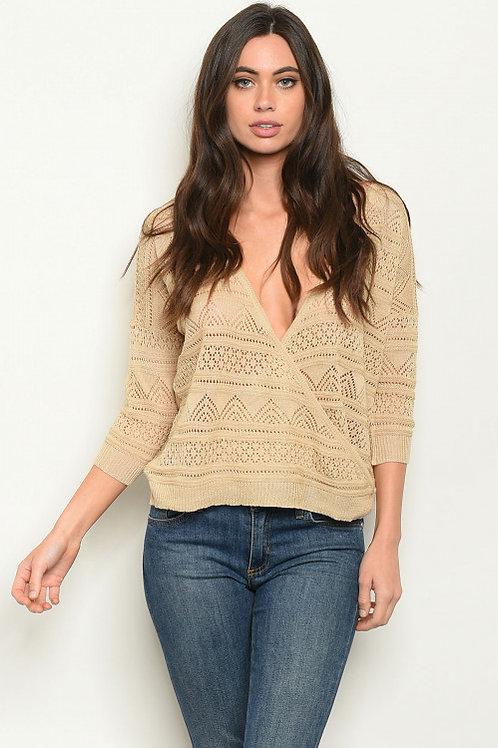 M.A.K. Sweater - Taupe Surplice Top