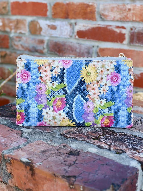 Liz custom collection crossbody bag snake blue floral