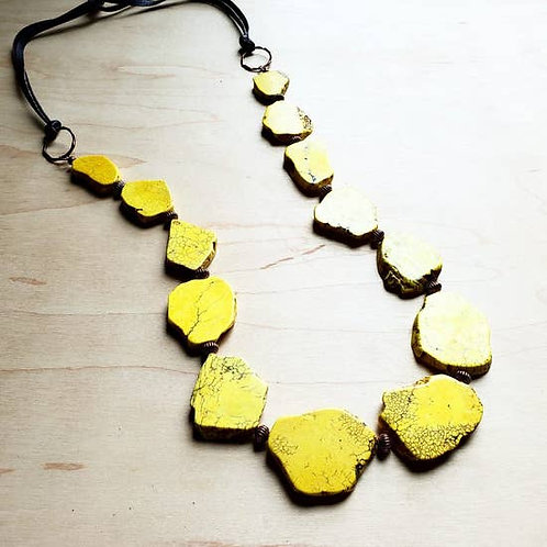 The Jewelry Junkie - Yellow Turquoise Slab Necklace with Leather Ties