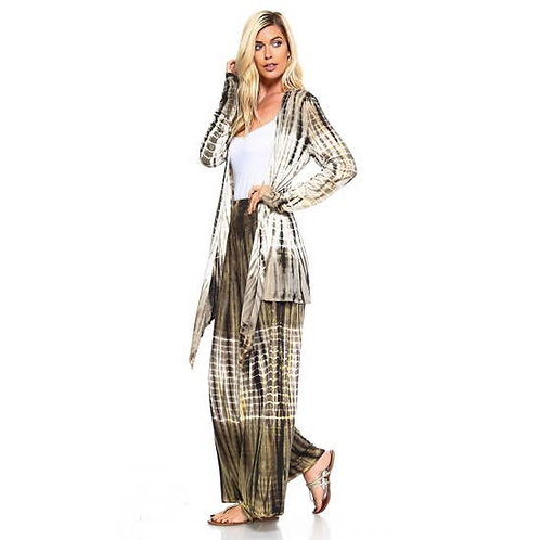 Olive & Beige Bamboo Tie dye Cardigan wrap Top and Bottom
