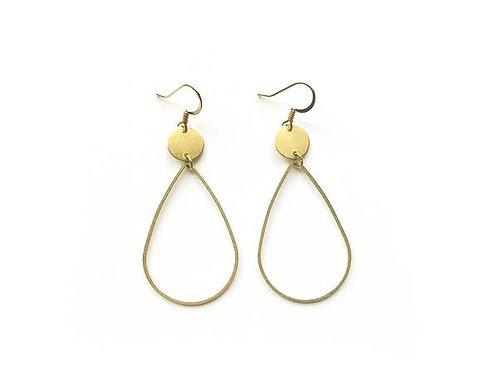 Black Crystals - Pear Drop Hoop Earrings