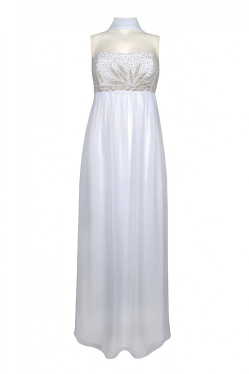 Empire Waist Beaded Chiffon Dress