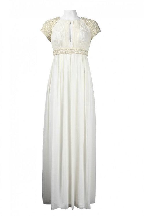 Pearl-Embellished Chiffon Dress