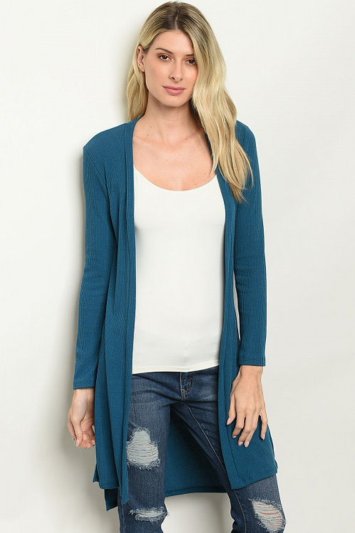 Must Have - Long sleeve side slit open front jersey knit cardigan