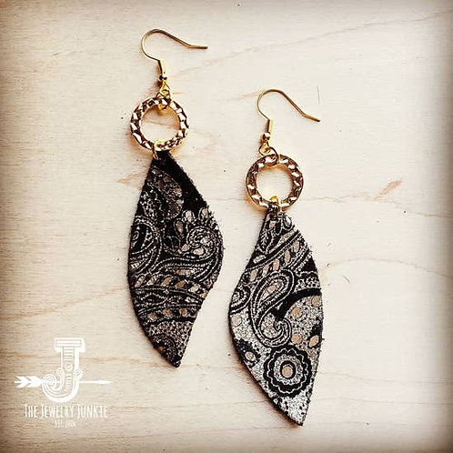 The Jewelry Junkie - Leather Accent Earrings in Black and Gold Paisle