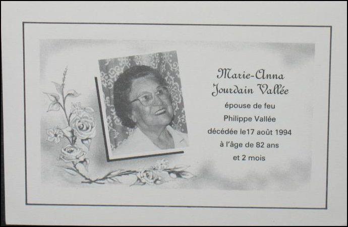 Marie Anna Jourdain Vallée 1912-1994