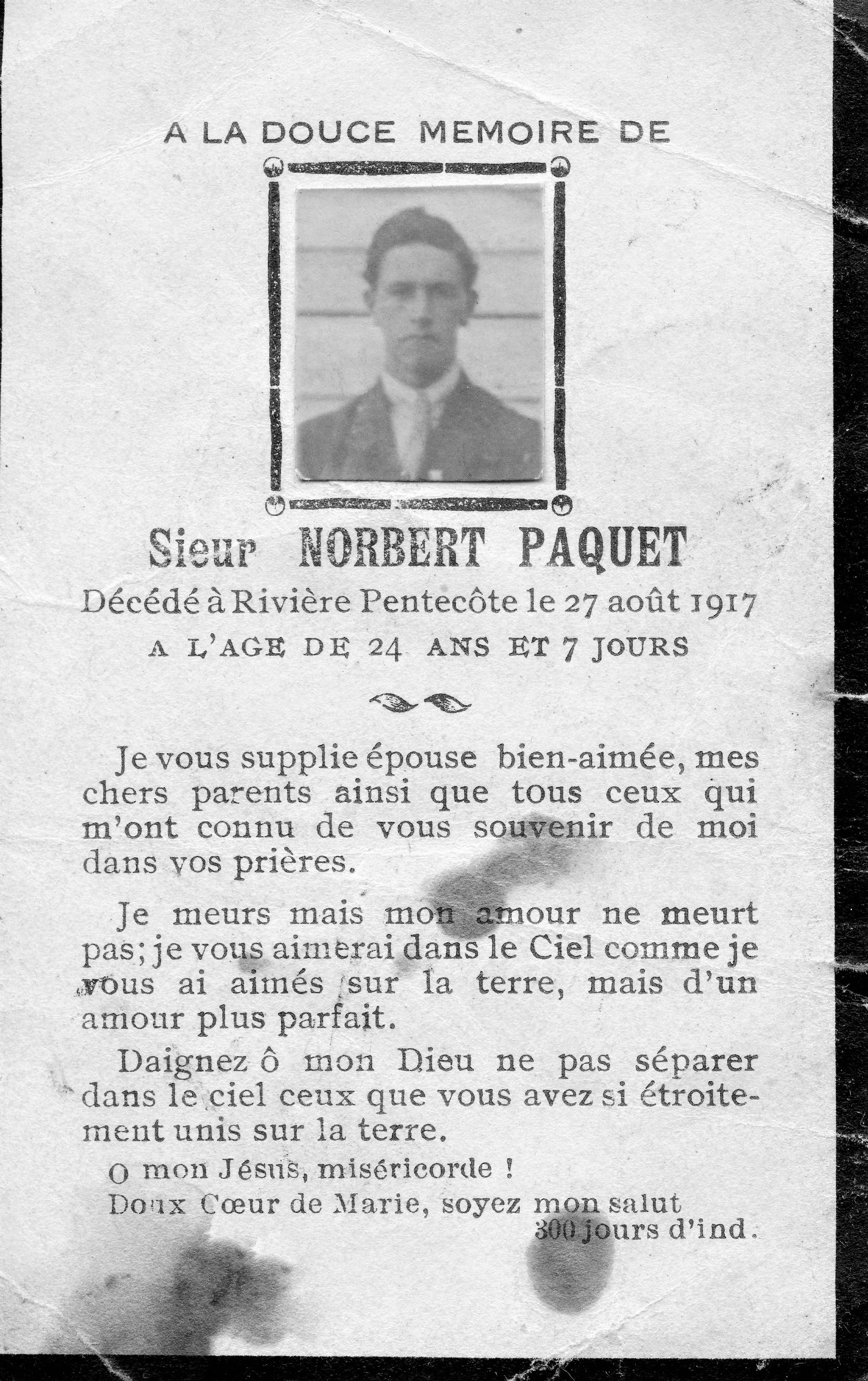 Norbert Paquet 1893-1917
