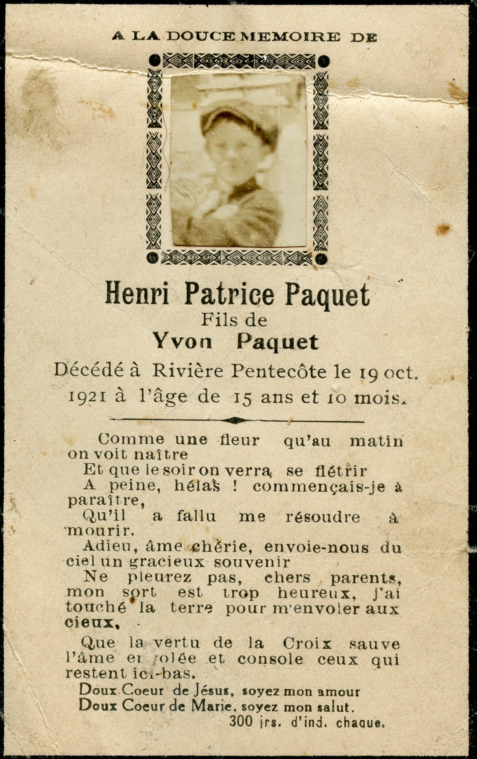 Henri Patrice Paquet 1906-1921