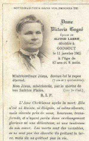Victoria Gagné 1855-1935