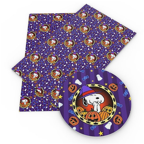 Iconic Dog with Pumpkins Printed Embroidery Vinyl