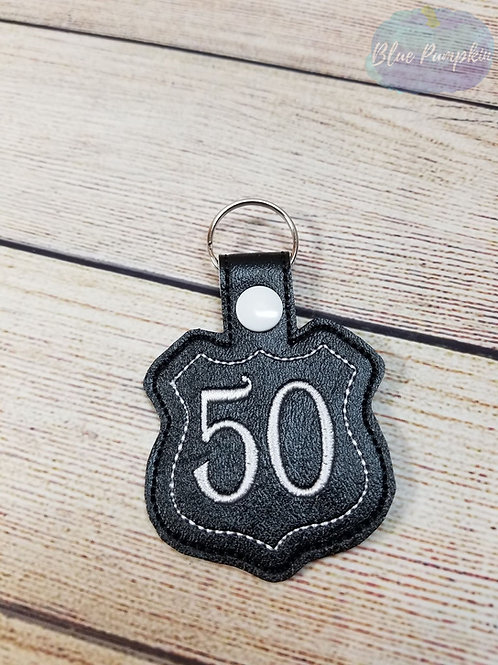 50 Road Sign Key Fob