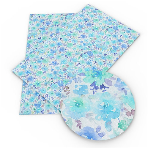 Blues and Purple Watercolor Flowers Print Embroidery Vinyl