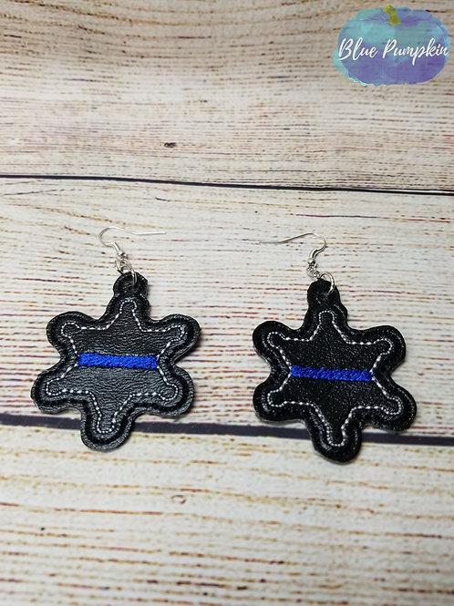 Star Police Shield Earrings