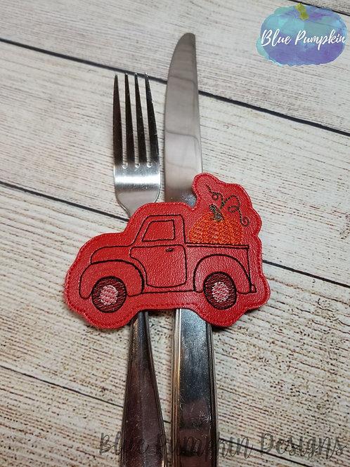 Truck with Pumpkin Silverware Holder