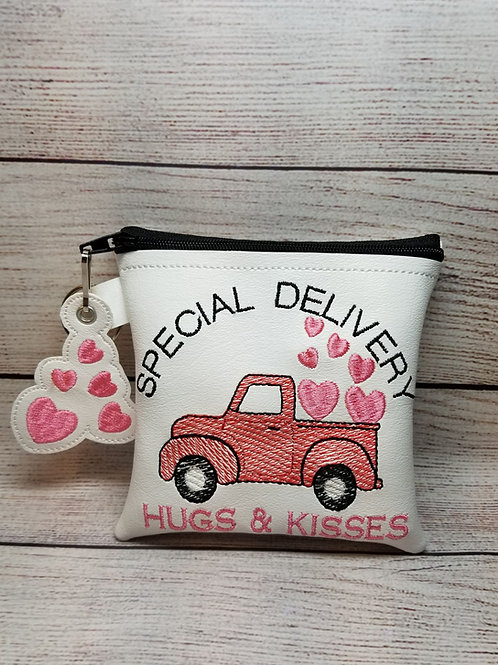 Red Truck w Hearts 5x5 ITH Bag Design