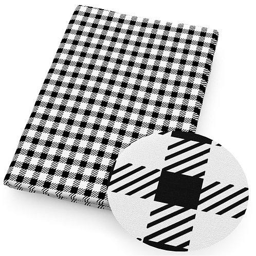 Checks Black and White Plaid Print Embroidery Vinyl