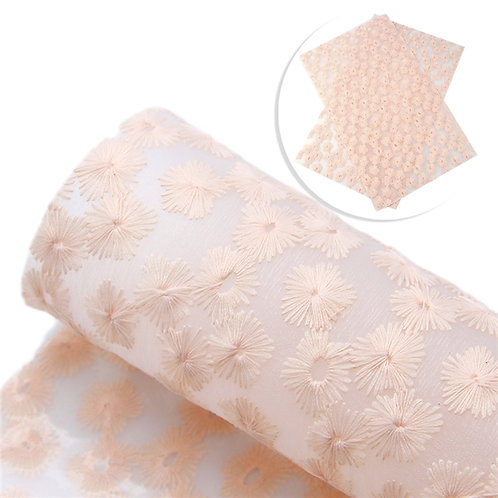 Frosted Clear with Stitched Peach Flowers Embroidery Vinyl