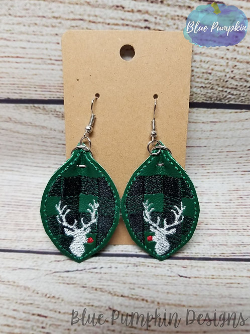 Buffalo Plaid Rudolph Stag Pinch Oval Earrings