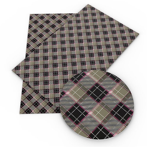 Blue Gray and Green Plaid Embroidery Vinyl