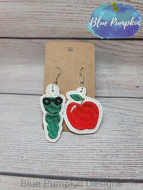 Bookworm and Apple Earrings