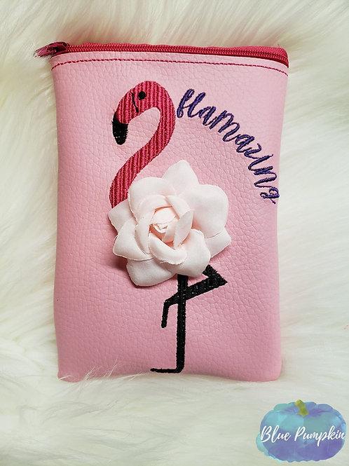 3d Flamingo ITH Zipper Bag Design