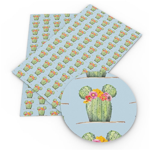 Cactus on blue w flowers Embroidery Vinyl