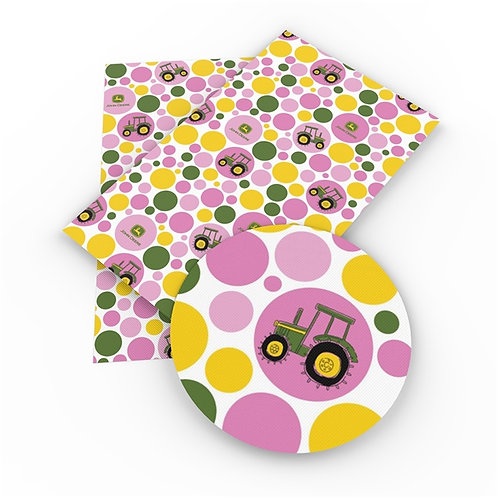 Pink Tractors with Pink Circles Embroidery Vinyl