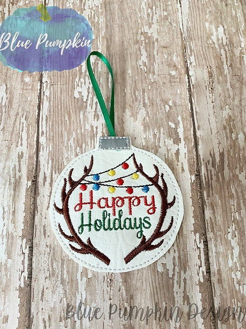 Happy Holidays Antler Ornament