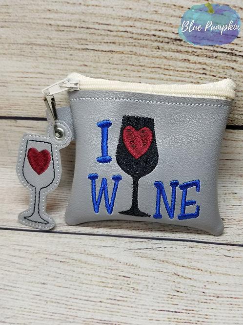 I Love Wine ITH Zipper Bag Design