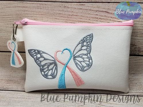 Awareness RIbbon Butterfly ITH Zipper Bag Design