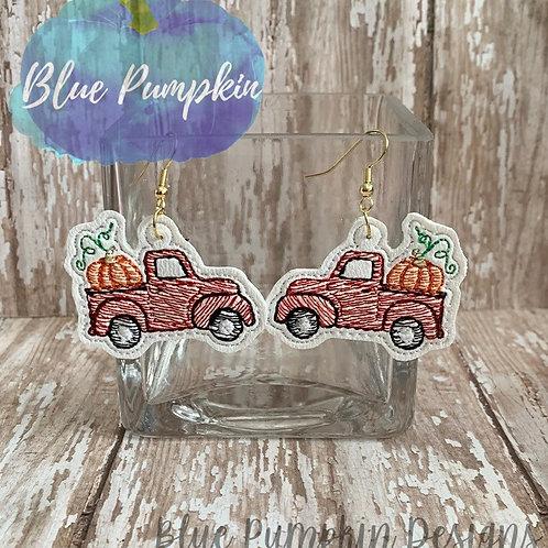 Red Truck w Pumpkins Earrings