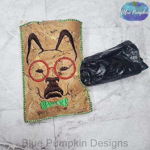 Dog w Glasses and Bow Tie Side Dispenser Poop Bag Holder