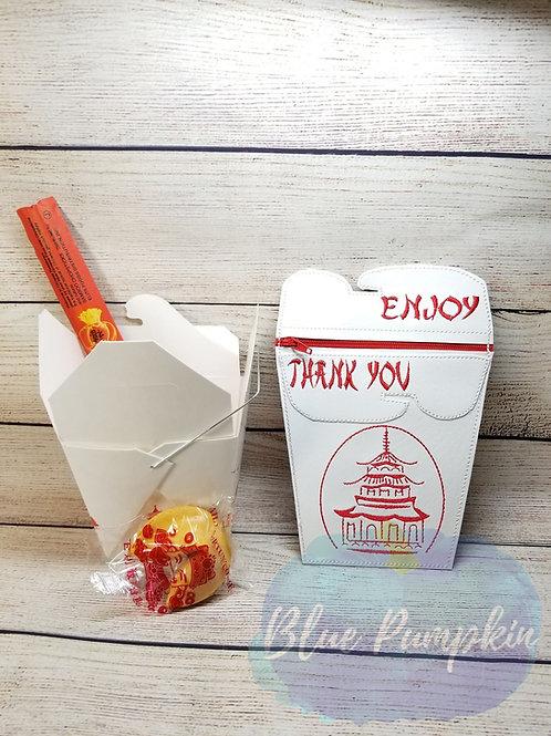Flat Back Take Out Box  ITH Zipper Bag Design