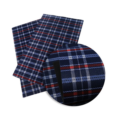 Blue Red Grey  Plaid Embroidery Vinyl