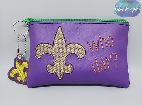 Who Dat? Bag ITH Zipper Bag Design